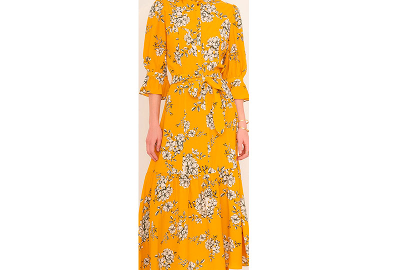 فستان أصفر مشجر