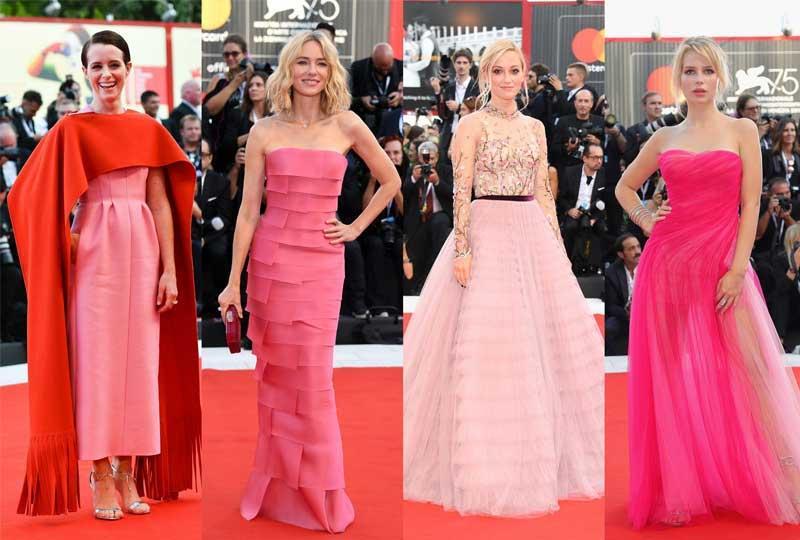 إطلالات بفساتين وردية في مهرجان فينيسيا 2018