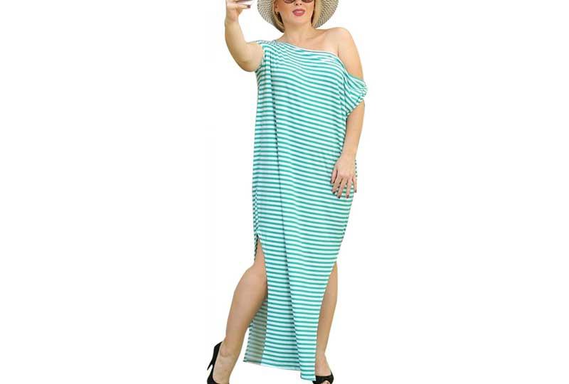 فستان للبحر مقلم بالعرض