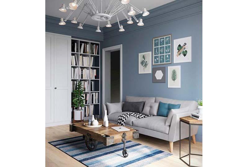 اللون الأزرق في غرفة المعيشة