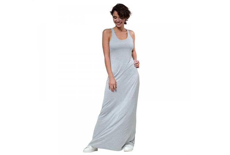فستان قطن طويل بحمالات للبحر