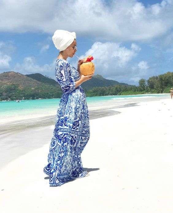 ملابس البحر فستان طويل للمحجبات