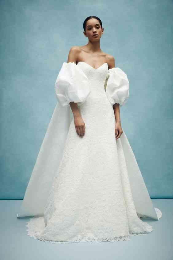 فساتين زفاف 2020 ضيقة بأكمام منفوخة