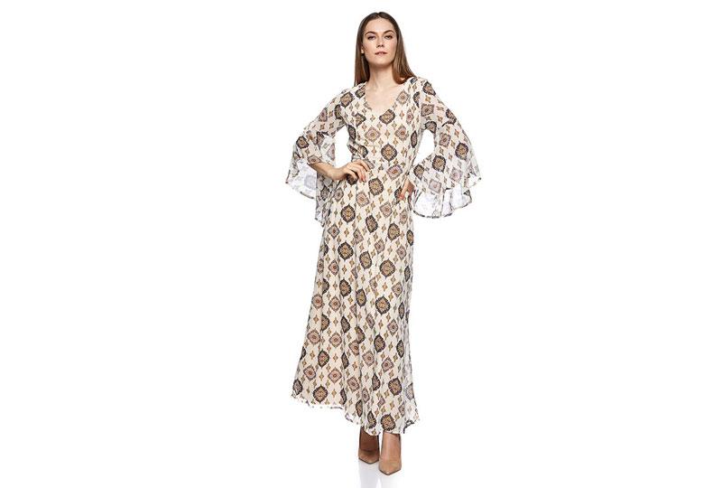 فستان كاجوال طويل بأكمام واسعة