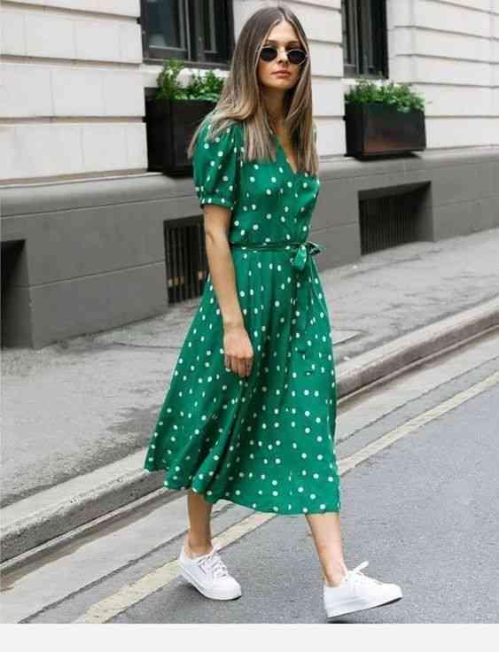 أفكار ملابس مريحة للخروج الفساتين بولكا دوتس