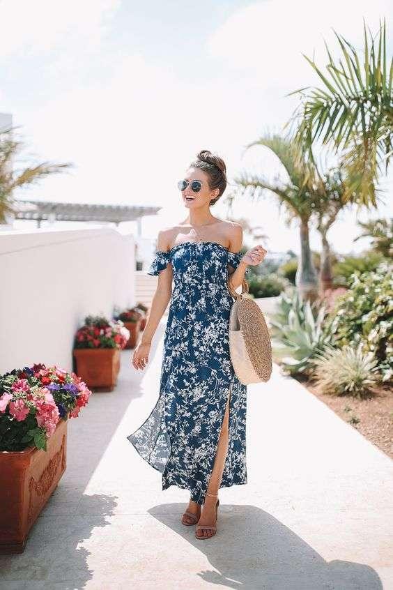 ملابس البحر فستان طويل بأكتاف متساقطة