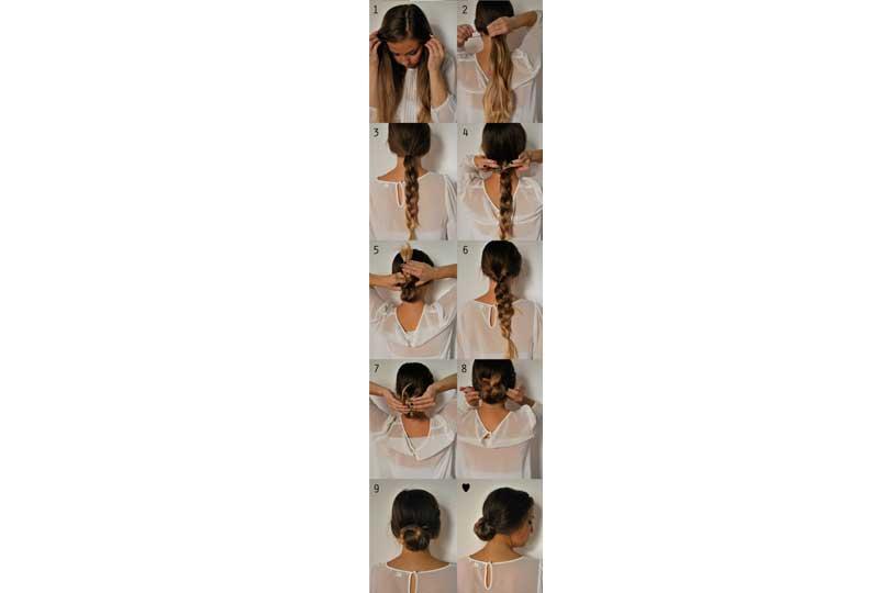 تسريحات شعر بسيطة تسريحة كعكة الشعر المُضفرة