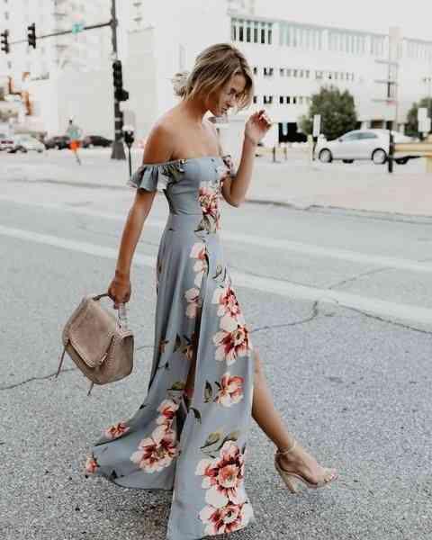 أنواع الفساتين Off the Shoulder Dress