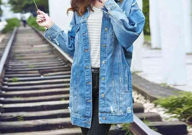 جاكت جينز طويل للمحجبات وثقيل