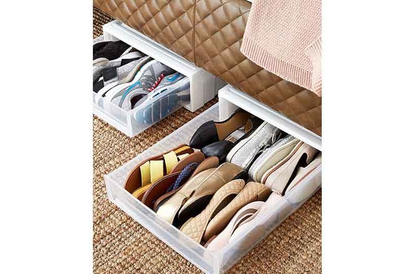 أفكار لترتيب البيت صناديق لتنظيم الأحذية أسفل السرير