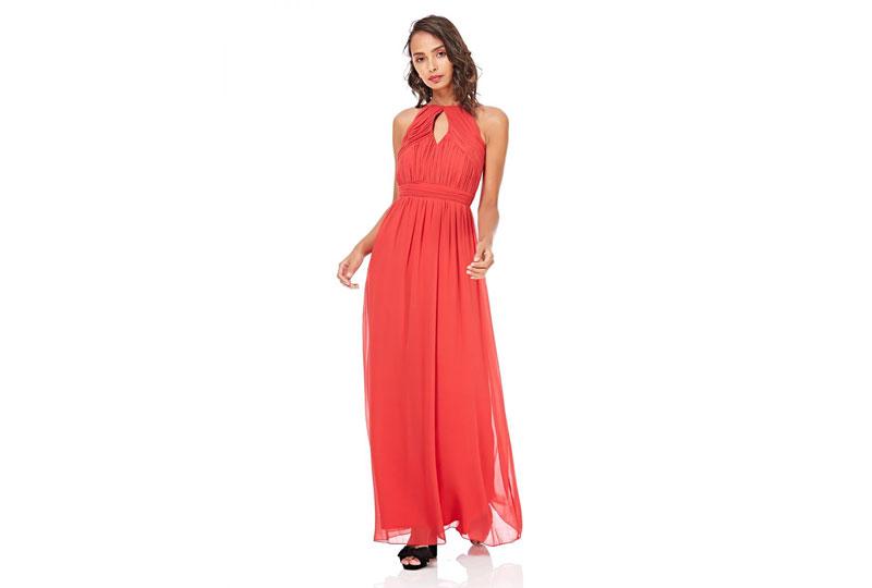 فستان كاجوال طويل باللون البرتقالي