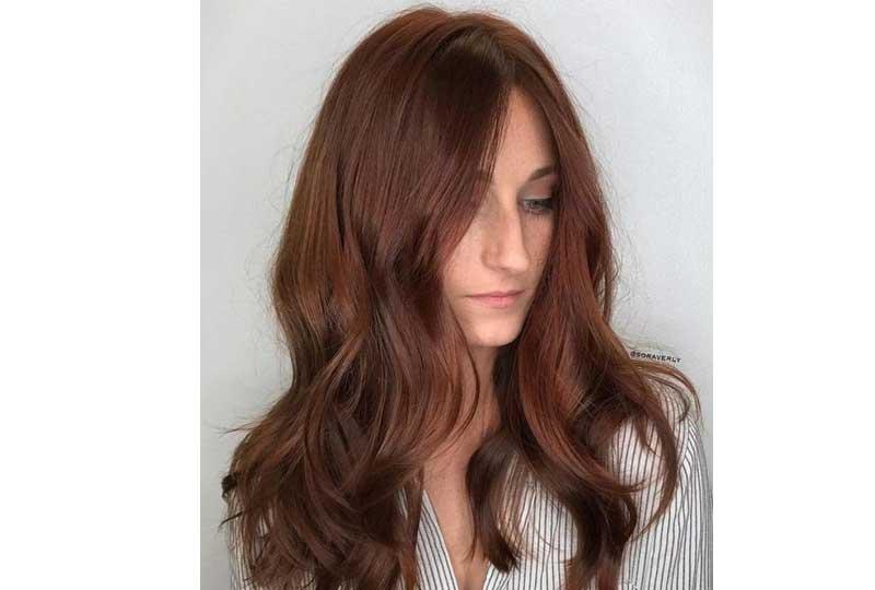 ألوان صبغات الشعر اللون الأحمر المائل للنحاسي