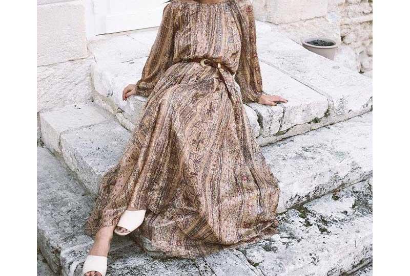 فستان شيفون مع حزام