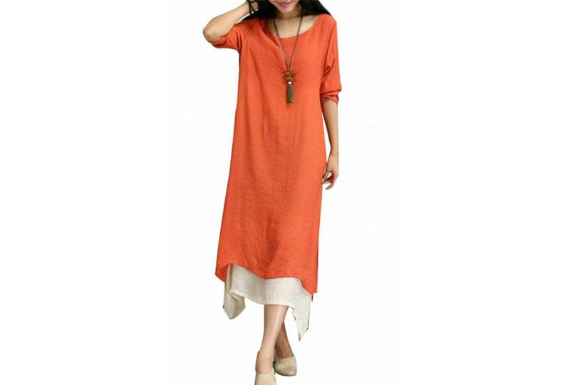 فستان كاجوال واسع من الكتان