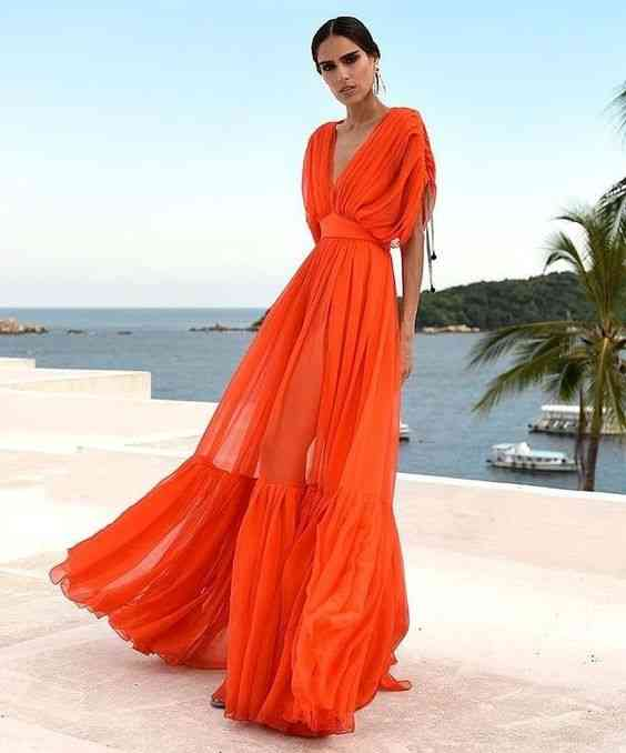 فساتين للعيد ماكسي برتقال طويل
