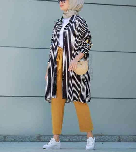 أزياء محجبات تركية كارديجان مخطط