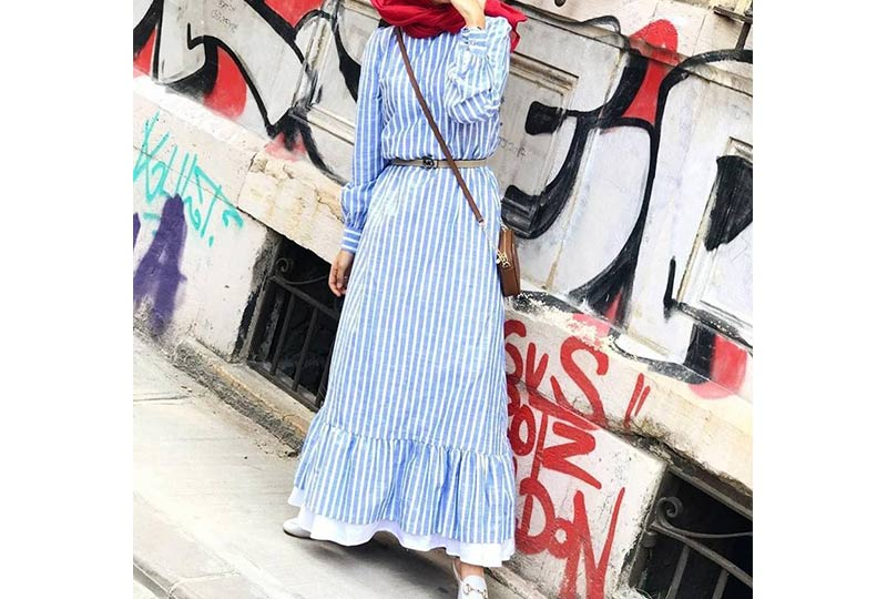 فستان مخطط محجبات
