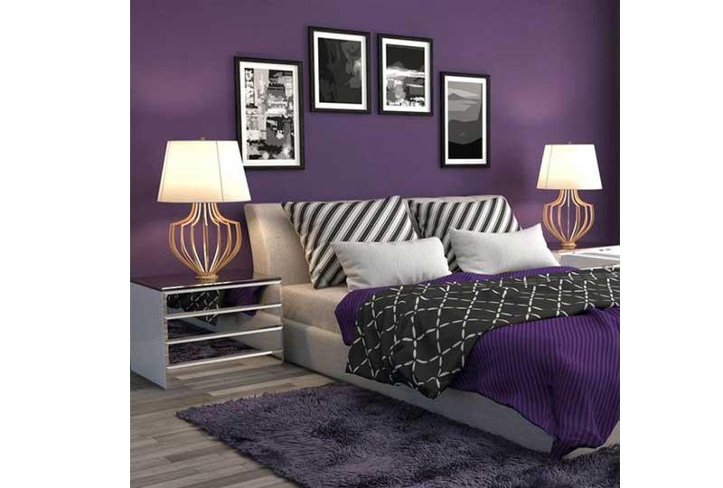 ألوان غرف نوم باللون الموف الداكن