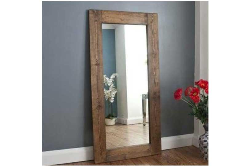 إكسسوارات المنزل مرآة بإطار خشبي