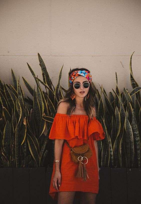 ملابس البحر فستان برتقالي قصير