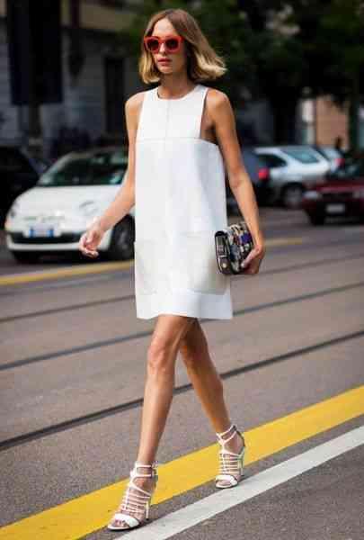 أنواع الفساتين فستان قصير أبيض