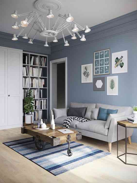 درجات اللون الأزرق لغرفة المعيشة
