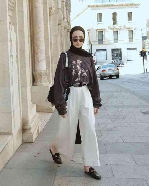 إطلالة كاجوال مع الحجاب