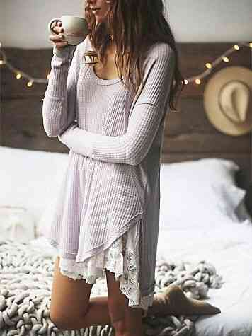 ملابس مريحة للمنزل فستان نوم قصير بكم