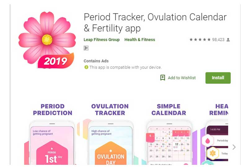 Period Tracker, Ovulation Calendar تطبيق التبويض والدورة الشهرية