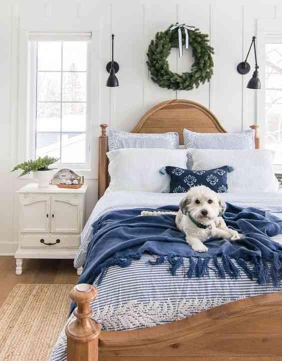 درجات اللون الأزرق مفارش سرير زرقاء