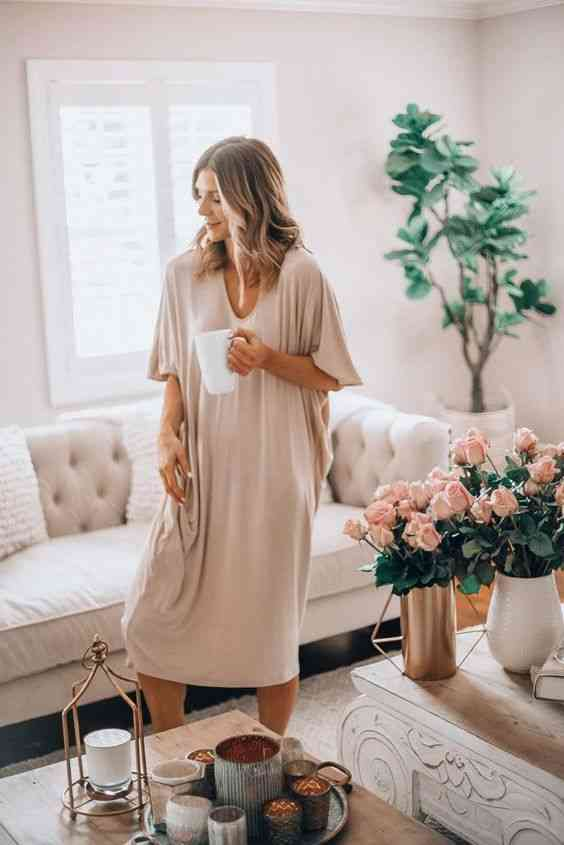 ملابس مريحة للمنزل فستان نوم واسع
