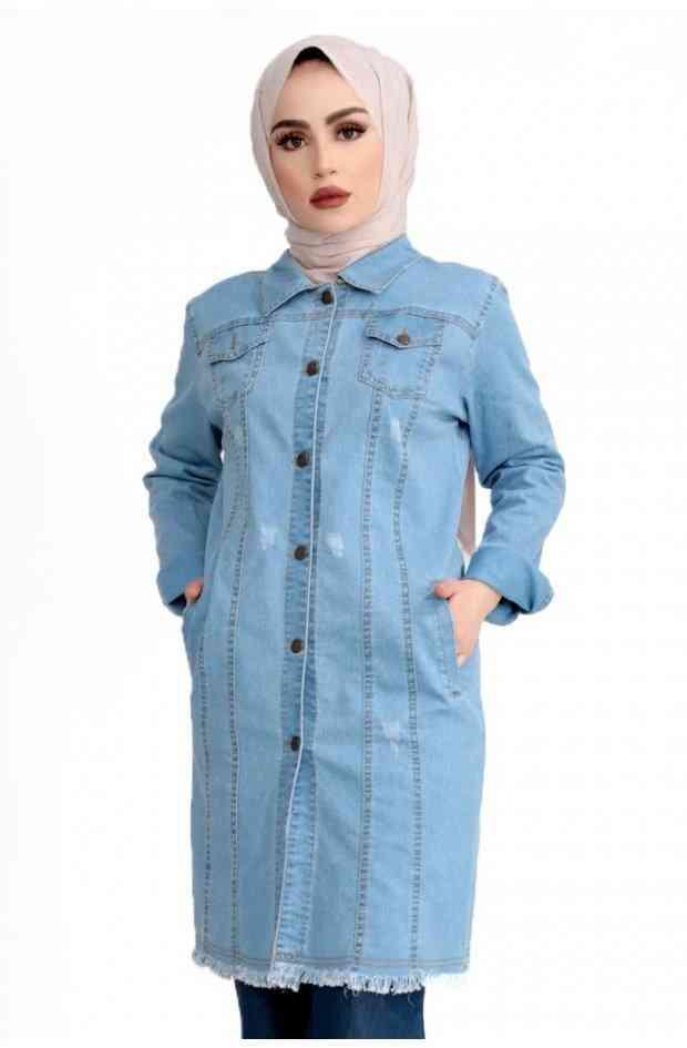 جاكت جينز طويل للمحجبات