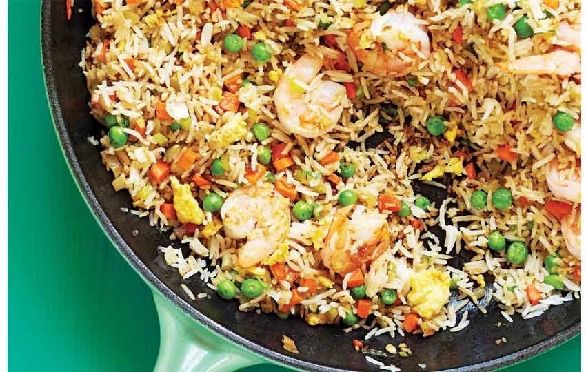 الأرز بالجمبري المقلي