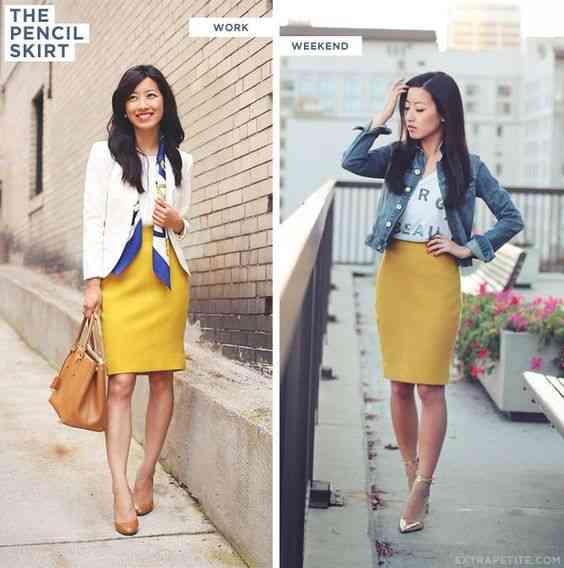 ملابس العيد تنورة صفراء قصيرة